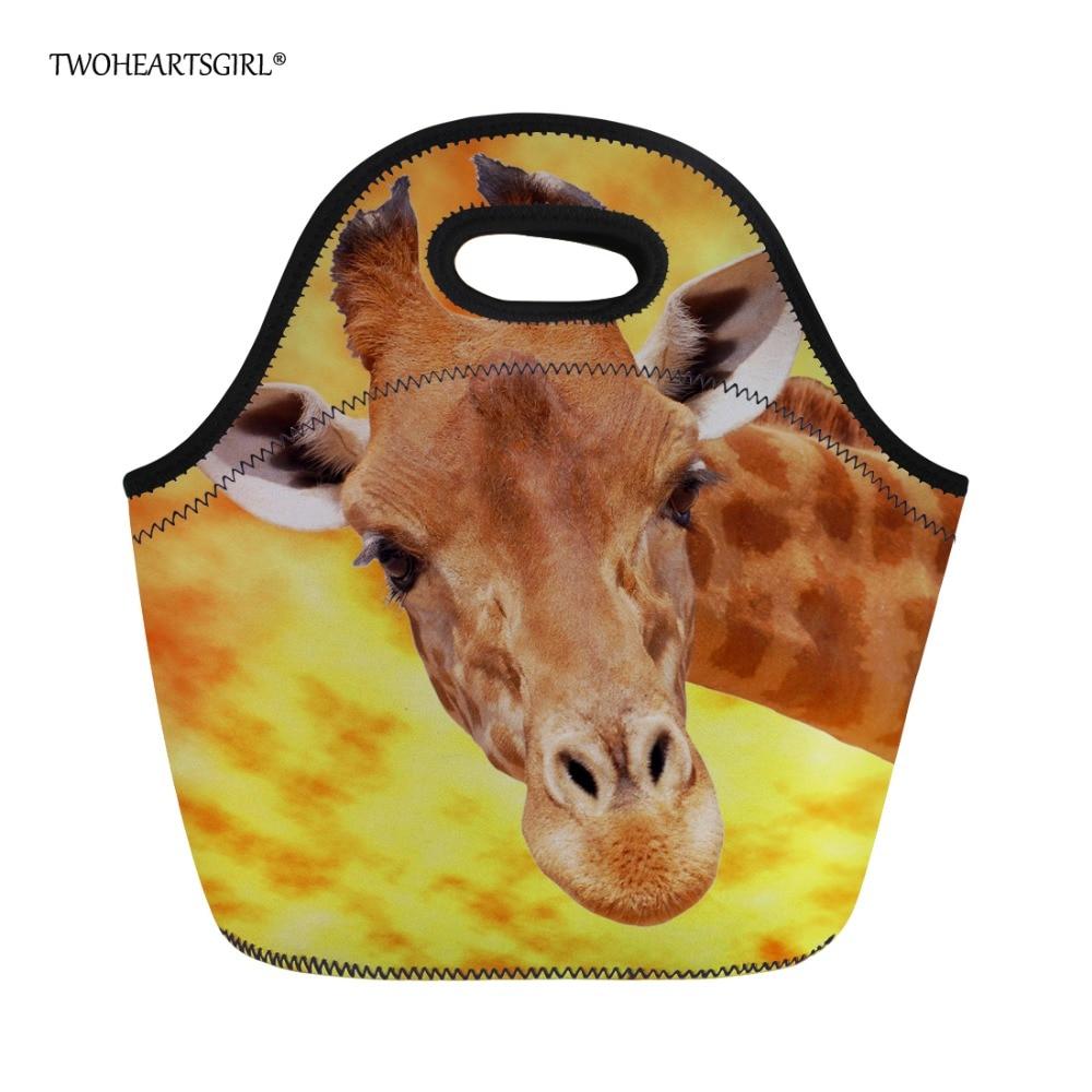 Twoheartsgirl Funny Animal Giraffe Print Neoprene Lunch Bag for Kids Small Lancheira Thermo Thermal Lunchbag Picnic Food Bas