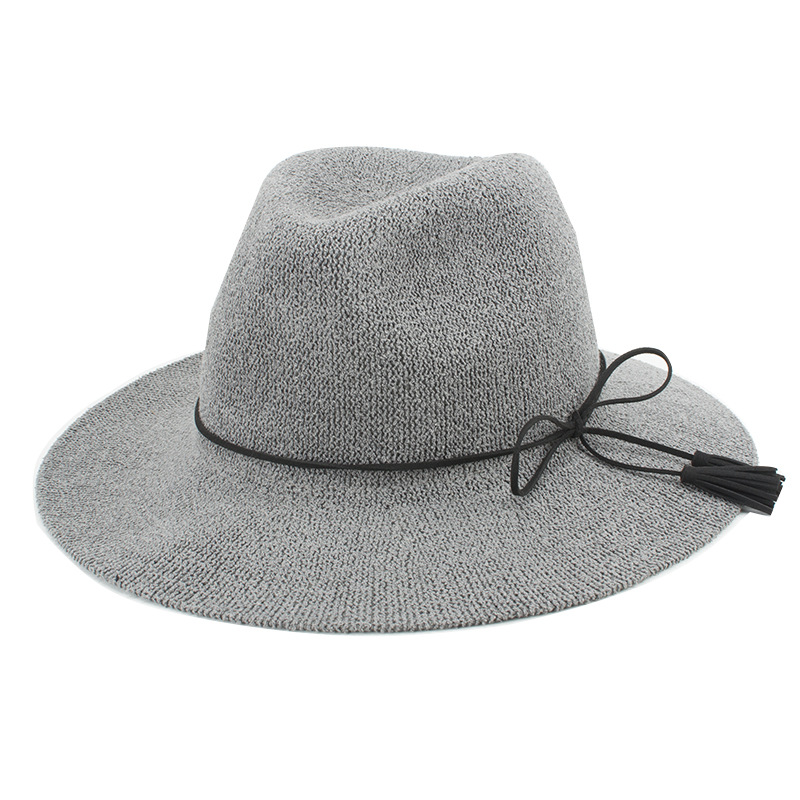 Free Shipping 2017 New Woman Ladies Summer Grey Camel Straw Fedora Hats  With Bow Belt c1e68a72925