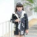 Kids girls winter padded jacket 2016 new baby girls fashion clothing big virgin plus velvet denim jacket 7/8/9/10/11/12/13 years