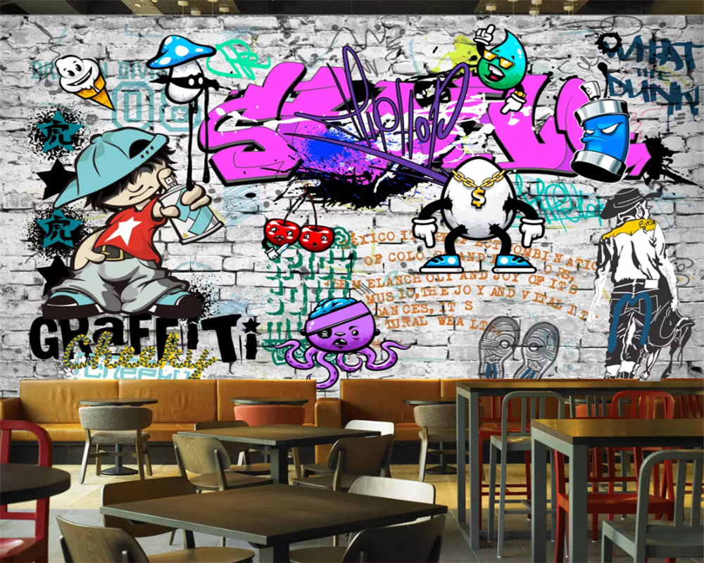 beibehang Custom wallpaper Fashion trend street art graffiti brick Cafe Bar Restaurant painting background wall 3d wallpaper in Wallpapers from Home Improvement