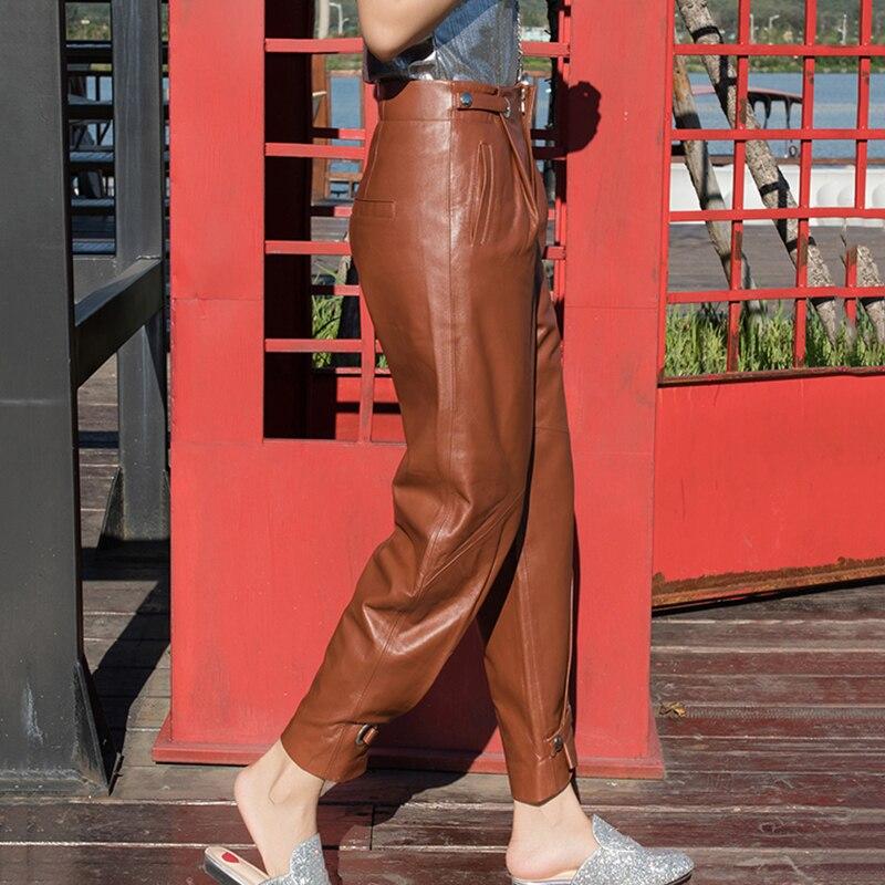 2019 коричневые зеленые настоящие кожаные зауженные брюки женские Harajuku уличная высококачественный, из овчины кожаные брюки женские большие размеры S 4XL - 2