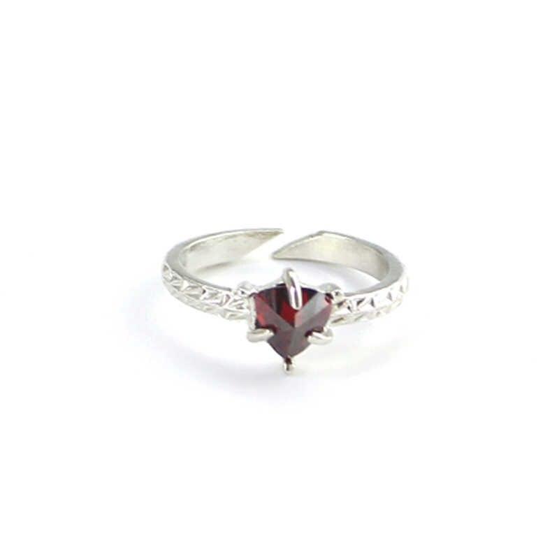 คริสตัลสีแดงเปิดแหวน Spinner ปรับเคลือบเงินเปิดแหวนนิ้วมือสำหรับผู้หญิงแฟชั่นของขวัญเครื่องประดับสำหรับบุรุษ