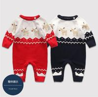 Winter Snowsuit Knitted Thickened Sweater Romper Newborns Baby Button Rompers Baby Boys Girls Jumpsuit Infant Romper