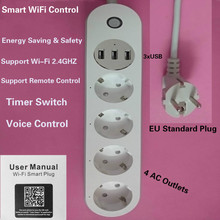 цена на WiFi Smart Power Strip Socket Voice Control Timer Switch 4 AC Outlets 3 USB Port EU Plug for iPhone Android Alexa Google Home