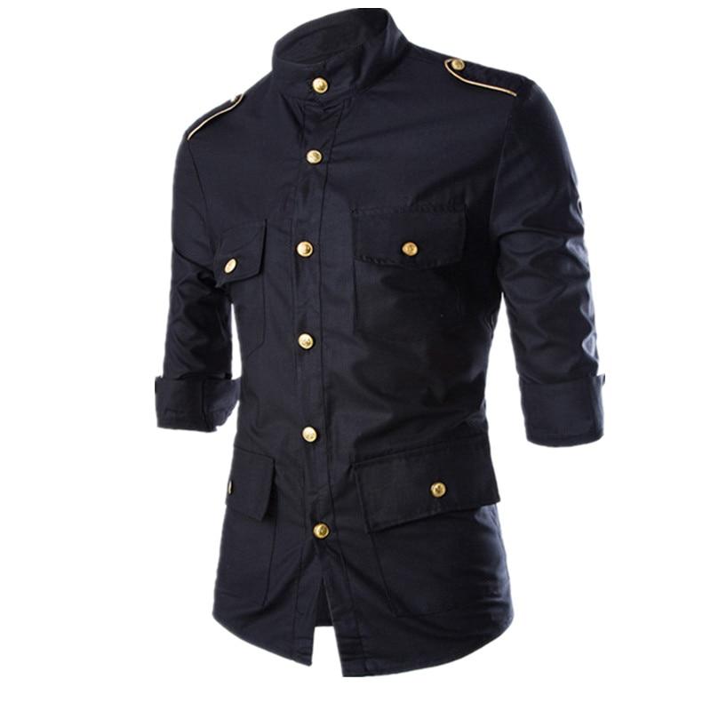 2016 new men 39 s epaulet long sleeve cargo dress shirts for Mens military style long sleeve shirts