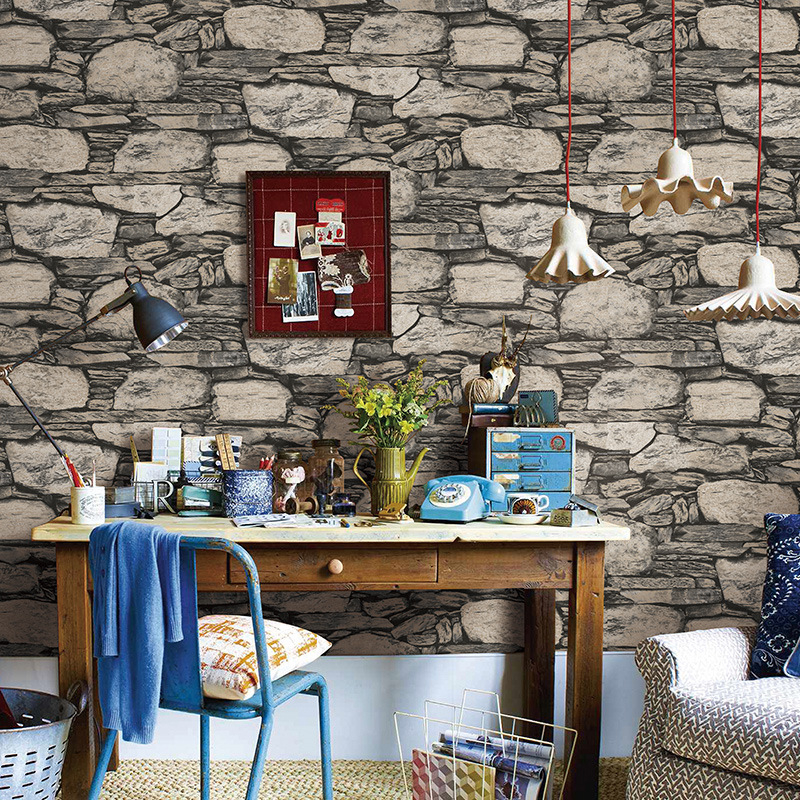 Beibehang Antique Stone Brick Wallpaper Nostalgic Restaurant TV Backdrop Retro Wallpaper papel de parede wallpaper for walls 3 d beibehang 3d brick wallpapers antique brick brick wallpaper chinese nostalgia restaurant hotel backdrop retro vintage wallpaper