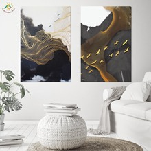 Abstract Gold Line Art Wall Canvas Painting Nordic Posters And Prints Pop Pictures Scroll for Living Room
