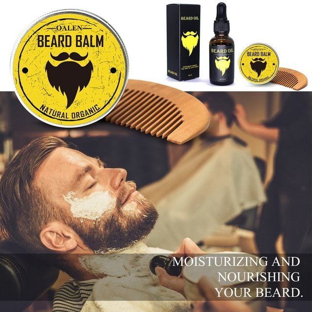 3Pcs Men Beard Care Male Beard Balm 30ml Beards Oil Hair Grooming Care Comb Tools Moisturizing Nourishing Set Drop Shipping