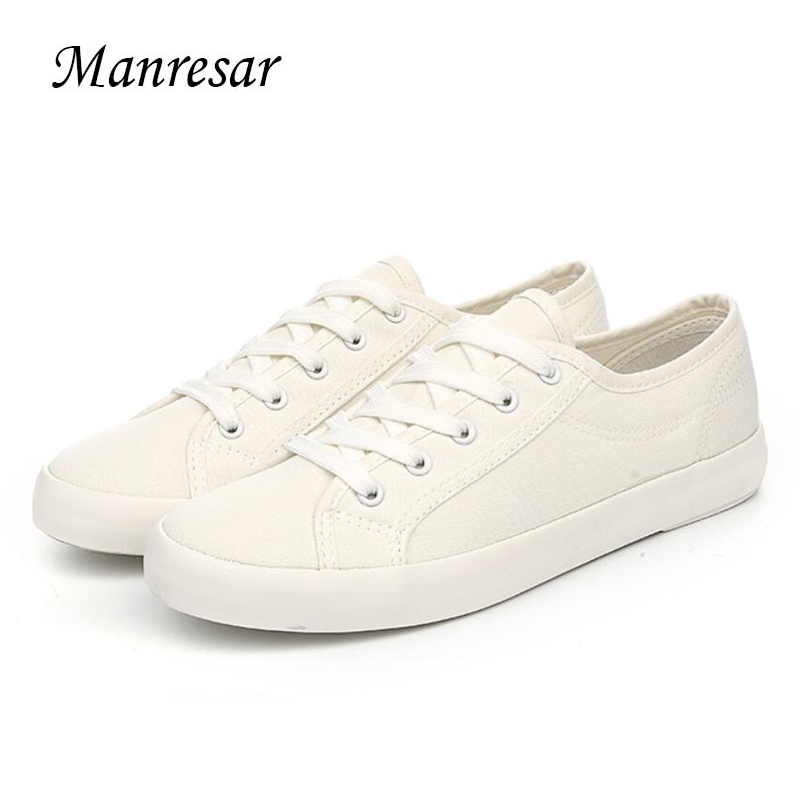 Manresar 2017 New Arrival Fashion Lace-up Women Zapatos Mujer Women Classic Canvas Casual Shoes White Female Shoes Size 35-44