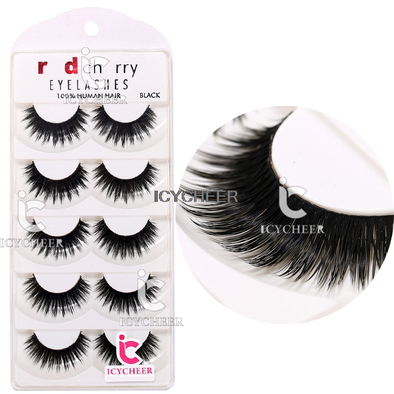 ICYCHEER 5 Pairs Makeup Handmade False Eyelashes Black Long Thick Fake Eye Lash Extension