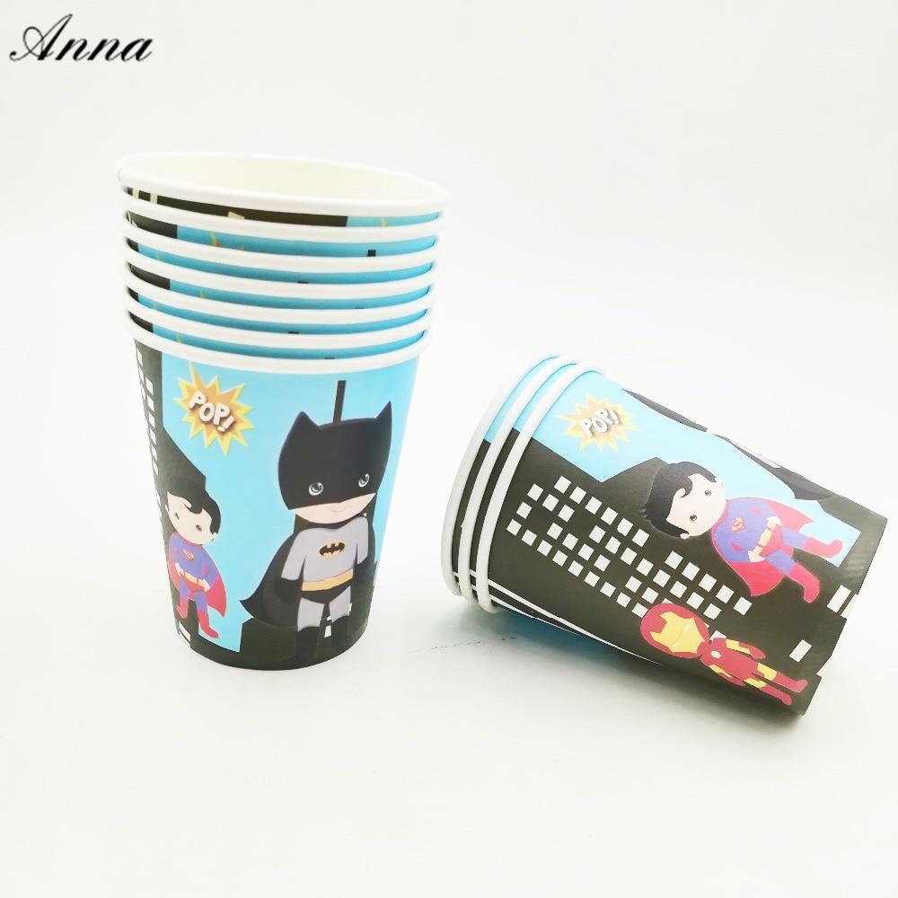 10pcs/lot Avengers Party Supplies Paper Cup Cartoon Birthday Decoration Baby Shower Theme Boys Batman party