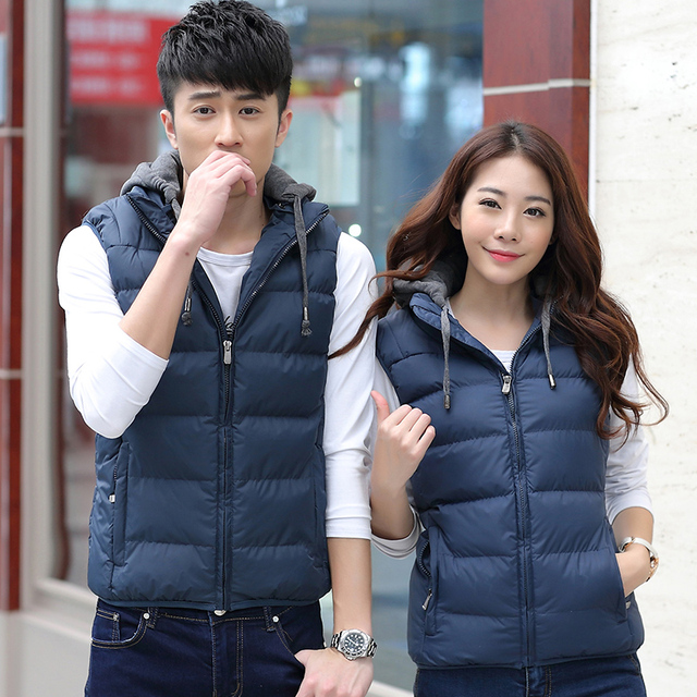New Slim Man and Women Vest Spring Winters Down Hooded Padded Couple Vests Sleeveless Jacket Casual Coat Outerwear Lover Vest 88