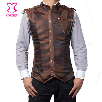 Corzzet Brown Striped Collar Sleeveless Mens Steampunk Jacket Gilet Vest Waist Trainer Hot Shaper Body Gothic Men Clothing