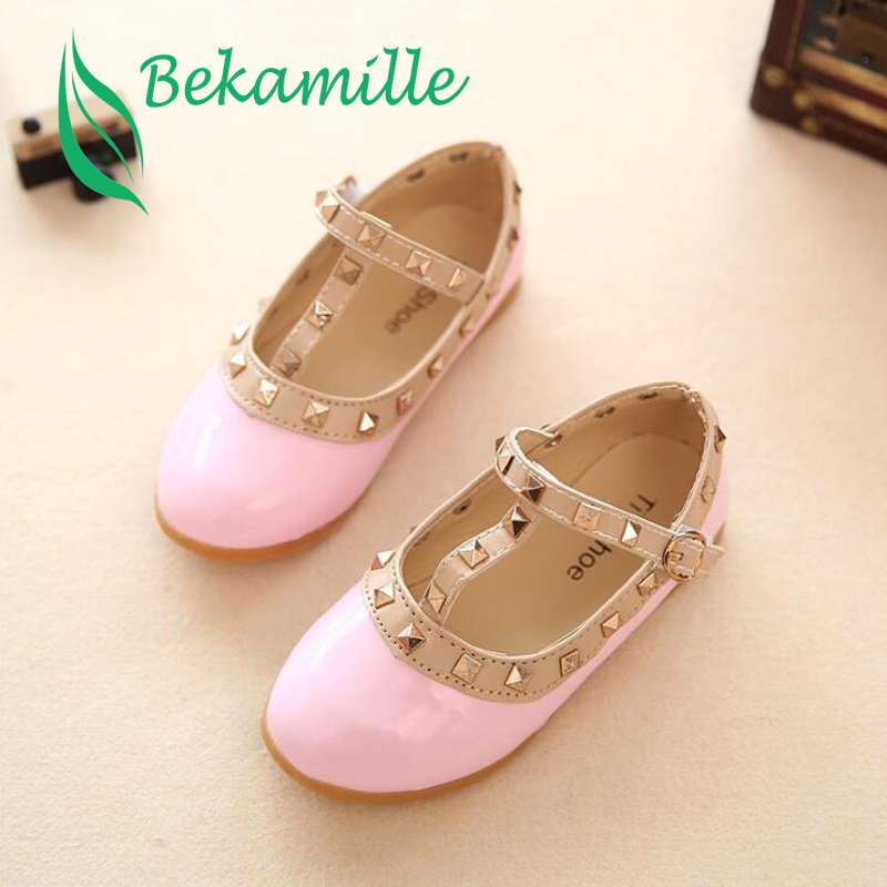 Bekamille 2019 Children Casual Shoes Girls Spring Autumn Leather Shoes Fashion Rivet Princess Baby Shoes Kids Girls Sandals