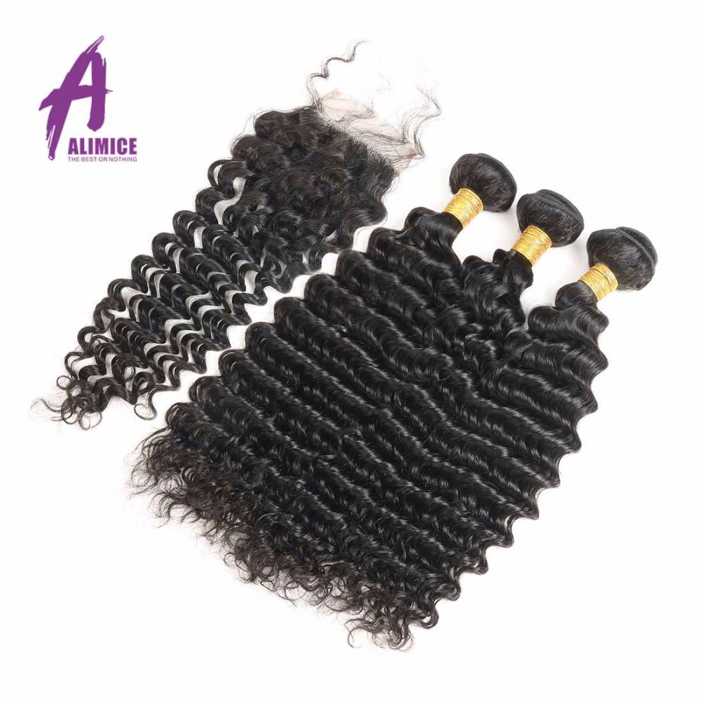 Peruvian Deep Wave Hair 3 Bundles with Lace Closure 4*4 Human Hair Weave Bundles with Closure Natural Color Non-Remy Hair