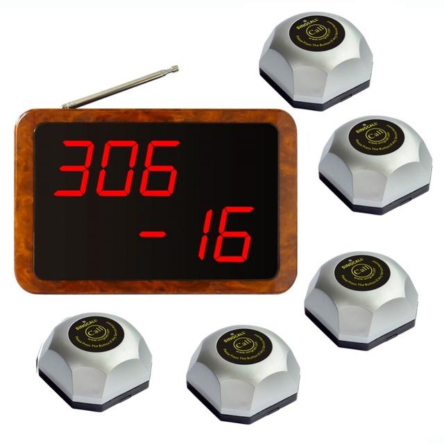 Singcall. chamada de serviço do sistema de entretenimento, à prova d' água base pagers.5 pcs de mesa sino e 1 pc receptor