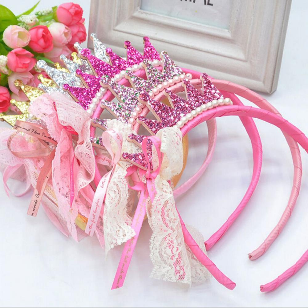1 Pc Lucu Anak Perempuan Mutiara Renda Busur Pita Mahkota Hello Kitty Sirkam Sisir Aksesoris Putri Hari Natal Pesta Ulang Tahun Rambut Tali Hoop Aksesori