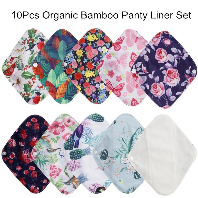 [simfamily] 10pcs Reusable Waterproof Bamboo Fiber Pads Menstrual Cloth Sanitary Pads Feminine Maternity Hygiene Panty Liner