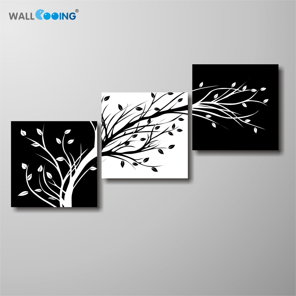 ③wall cooing 3 panel black and white canvas painting living room ...