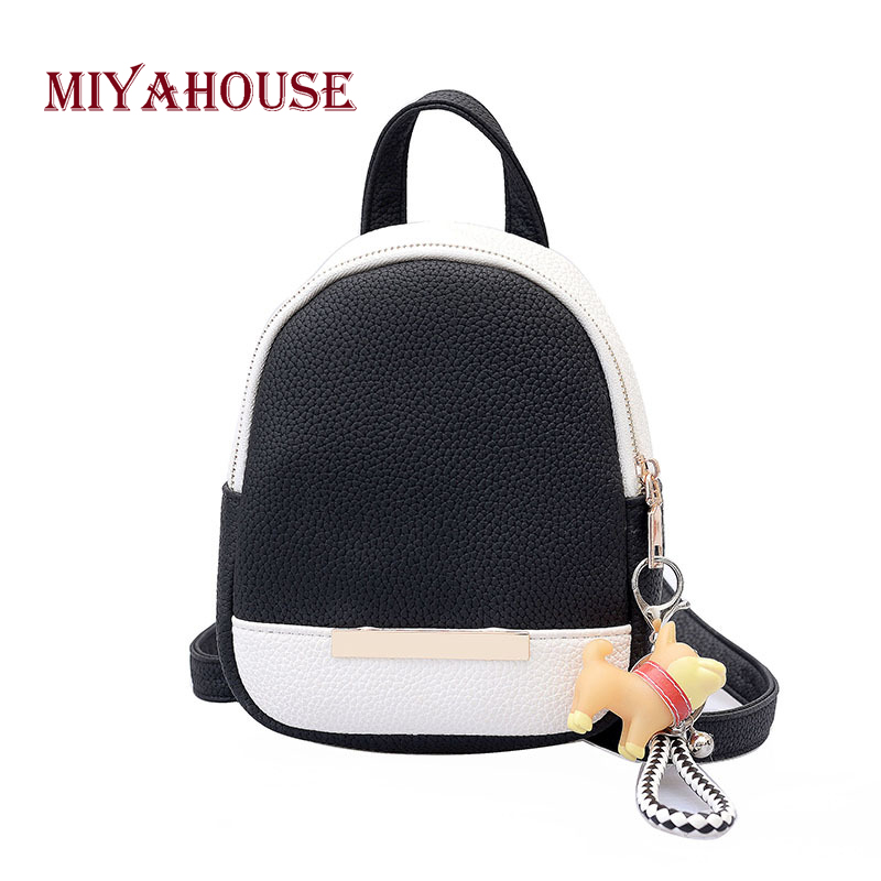 Miyahouse Female Pu Leather Casual Backpack Mini Shoulder Backpacks Hit Color Travel Rucksack For Women Small Backpack #6