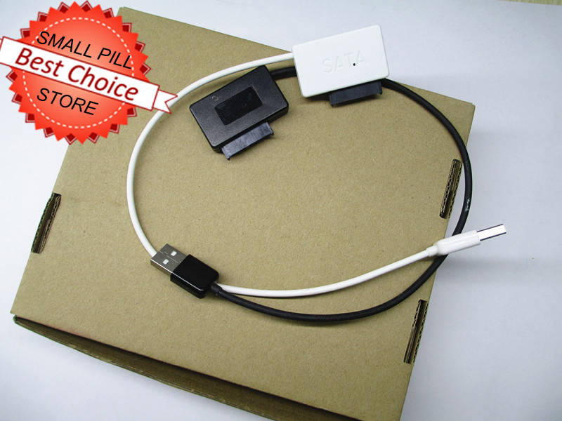 USB 2.0 TO 7+6 13 Pin Slimline SATA Laptop CD/DVD Rom Adapter black white