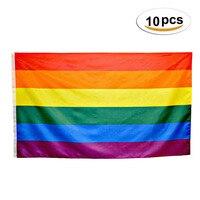 10 шт. Радужный Флаг полиэстер гей флаг «ПРАЙД» с латунными люверсами подвесные украшения LGBT флаг для геев для улицы, домашний декор 90*150 см