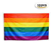 10 Pieces Rainbow Flag Polyester Gay Pride Flag with Brass Grommets Banner Hanging LGBT Flag For Gay Outdoor Home Decor 90*150cm