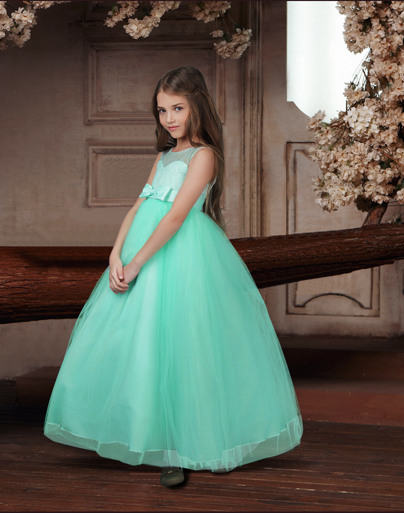 long gown children lace princess girl dress for wedding