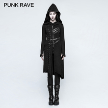 PUNK RAVE Gothic Asymmetric Diagonal Hem Sweater Coats Steampunk Rock Harajuku Punk Cosplay Jackets Retro Women Casual Autumn
