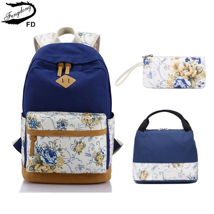 FengDong Children School Bags For Girls Vintage Flower Canvas School Backpack Set Kids Schoolbag Bookbag Floral Pencil Bag Set