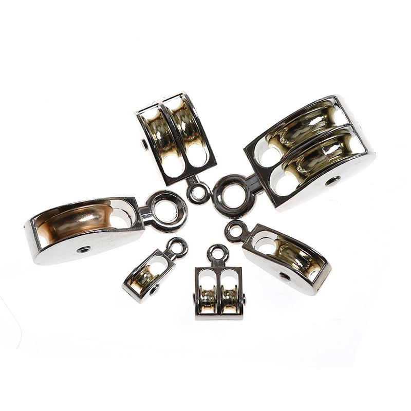36/52/75mm Metal sheave Zinc alloy fixed pulley crown block and tackle Lifting wheel Mini Single/Double Pulley for DIY m15 m20 m25 304 stainless steel wire rope single double wheel fixed pulley crown block universal lifting swivel traction sheave