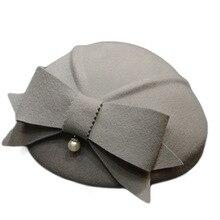 Шерсть Берет Шляпа женская шерстяная, фетровая шляпа дамская бабочка Свадебная церковная фетровая шляпа на зиму Осень Женская фетровая шляпа s B-8866