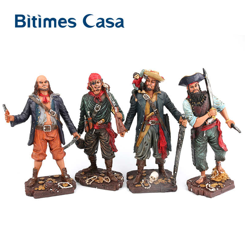 Bitimes Resin Figurine Caribbean Pirates Statue Mediterranean Bar Decor Craftwork Figurines Ornaments Home Decorations