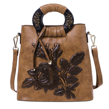 купить Women Flower Handbag Leather Ladies Tote Crossbody Shoulder Bag Purse Satchel Top Handle Bags дешево