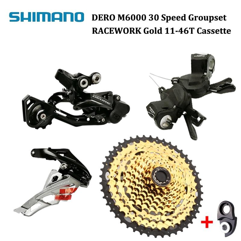 Shimano Deore Gruppo A 10 Velocità M6000 Più RACEWORK 11-46 T Mountain Bike Gruppo Set 4 pcs-Nero