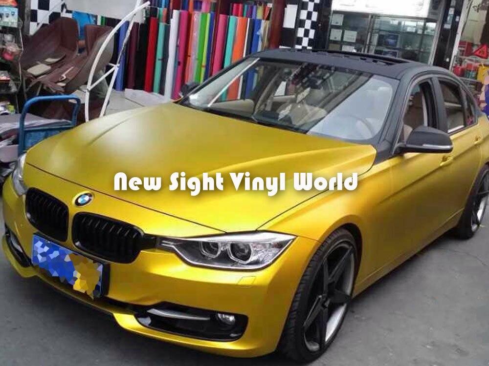 High Quality Gold Matte Metallic Wrap Matte Gold Metal Vinyl Wrap Roll Air Free Car Wraps