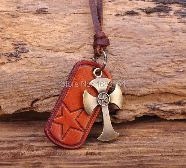 N182 Cool Abstract Axe Cross Pendant R&B Rock Leather Choker Necklace Mens