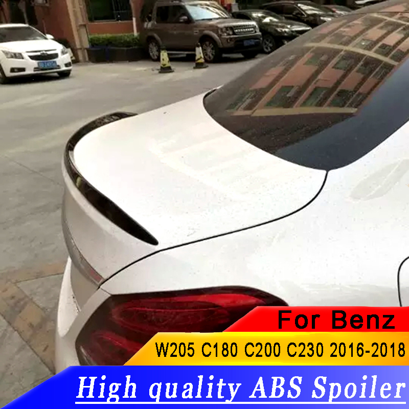 For W205 C180 C200 C260 C280 <font><b>C300</b></font> C63 <font><b>Spoiler</b></font> Car <font><b>Rear</b></font> Wing ABS Material Primer Color <font><b>Rear</b></font> <font><b>Spoiler</b></font> For <font><b>Benz</b></font> W205 <font><b>Spoiler</b></font> 2015 image