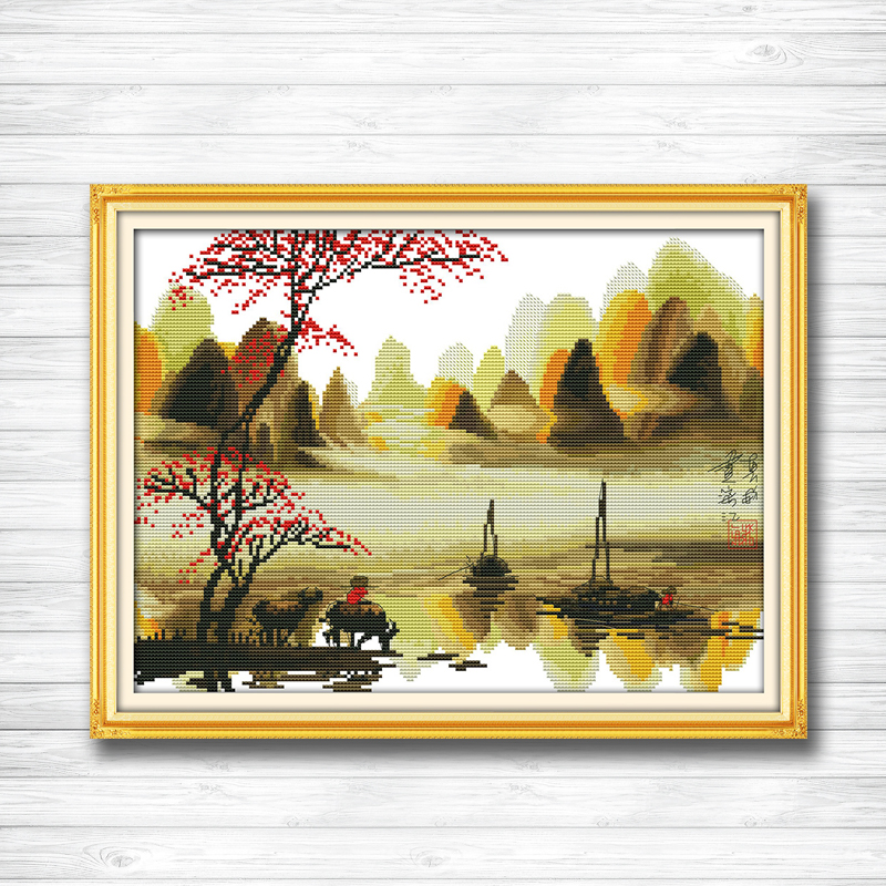 Poetic lijiang Li River Guilin painting dmc 14CT 11CT counted cross stitch Needlework Set Embroidery kits chinese cross stitch