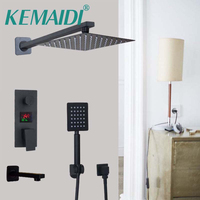 KEMAIDI Luxury Bath Shower Mixer Kits Digital Display Wall Mounted Rain Waterfall Shower Head Shower Faucet with Handshower