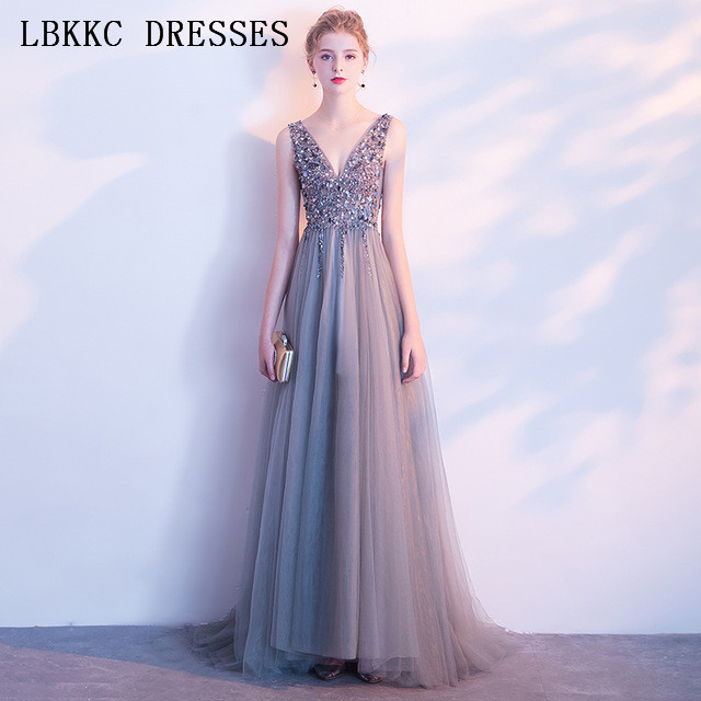 Grey Backless   Prom     Dresses   Long Gala Jurken Tulle Beading Vestido Formatura Sleeveless Slit   Prom     Dress   Women Evening   Dress