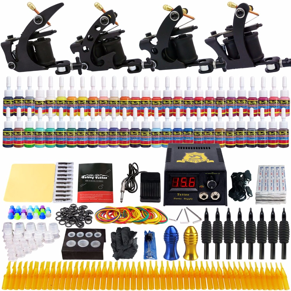 Solong Tattoo Complete Tattoo Kit 4 Machine Guns 54 Inks Needle Tips Tubes Grips  Power Supply TK457 p80 panasonic happy shopping complete air cutter torches a machine complete torch 4 meter