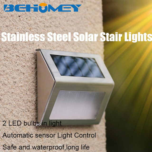 2pcs Behomey Stainless Steel Solar Power Garden Yard Stair Lights 2 LED  Outdoor Lighting Wireless Easily