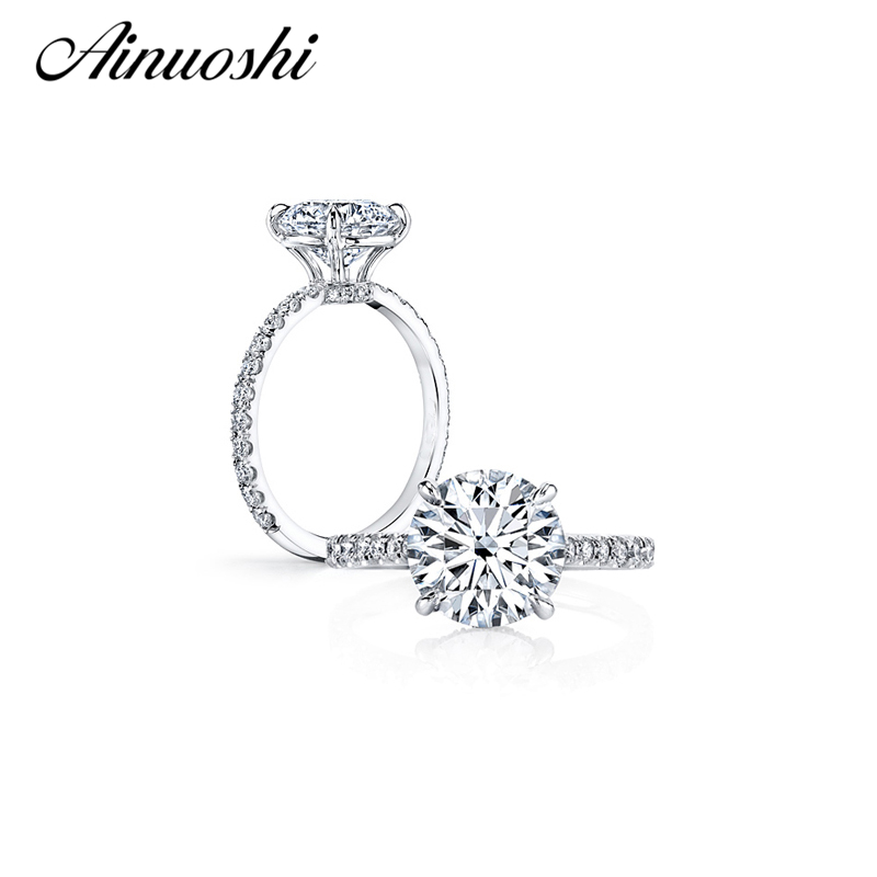 AINUOSHI 3 Carat Round Cut Engagement Ring 925 Sterling Silver Ring Party Anel Aneis Anillos for Women High Setting Bridal Bands кольцо valen bela 925 aneis anillos feminino jz5020