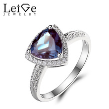 Leige Jewelry June Trillion Cut Lab Alexandrite Ring Engagement Ring Gemstone Solid 925 Sterling Silver June Birthstone for Her