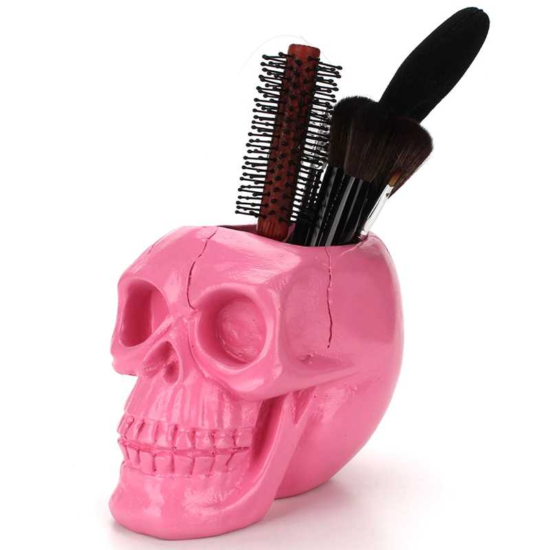 3D Skull Head Figurine Skeleton Ornament Stationery Holder Pink Makeup Storage Container Flower Pot Jewellery Box Home Decor