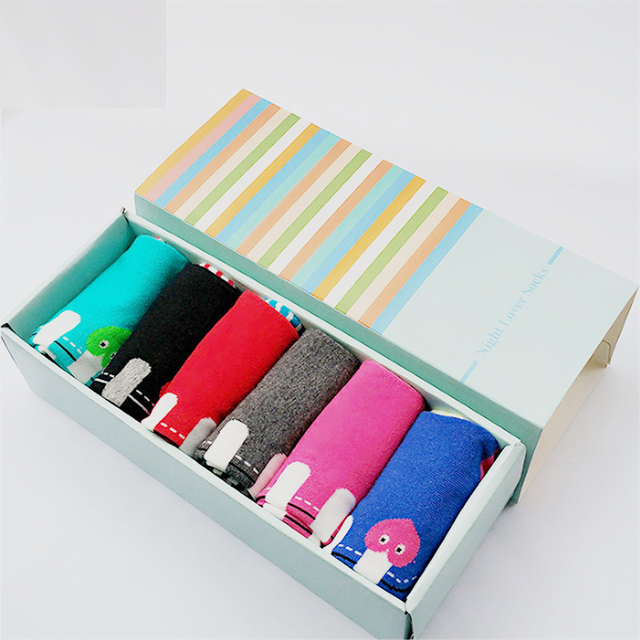 Hot sale! women cartoon socks gift box 6 pairs/lot autumn-winter soks 3d fashion lady and women's cotton striped sock