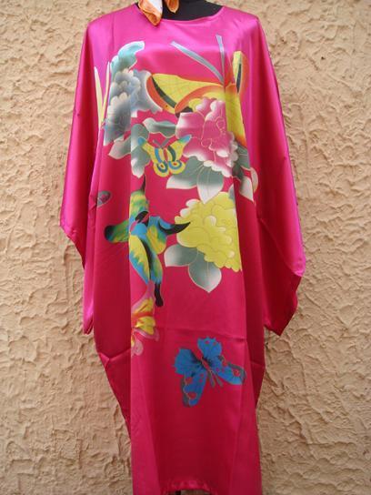 Pink Hot mulheres Chinesas Seda Rayon Robe Vestido Camisola Yukata Flor Tamanho S4010