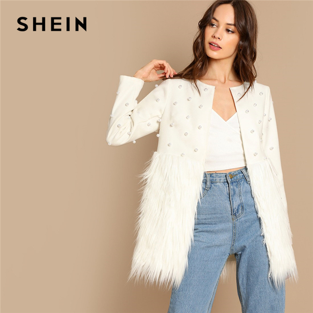 40f567c7e2 SHEIN White Office Lady Solid Pearl Embellished Faux Fur Round Neck Jacket  Autumn Workwear Casual Women
