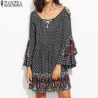 ZANZEA Sexy Women Floral Print Lace Up V Neck Casual Loose Ruffles Butterfly Sleeve Party Eveing
